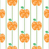 Seamless vector pattern,  bright  fruits symmetrical background with red decorative ornamental apples and rhombus, on the white ba Stock Photo