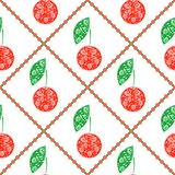 Seamless vector pattern,  bright symmetrical fruits background with decorative ornamental cherry, on the white backdrop Stock Photography
