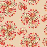 Seamless vector pattern with bright tulips and peacocks on beige background.  Royalty Free Stock Image