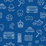Seamless vector pattern of British icons Royalty Free Stock Images