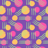 Seamless vector pattern with brush drawn circles and lines Royalty Free Stock Photography