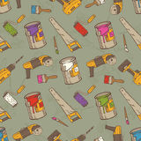 Seamless Vector Pattern with Brushes, Paints and Tools for Repair. Seamless Vector Pattern with a Multicolored Paintbrushes, Roller Brushes, Paint Cans and Tools Royalty Free Stock Photography