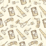 Seamless Vector Pattern with Brushes, Paints and Tools for Repair. Seamless Vector Pattern with a Paintbrushes, Roller Brushes, Paint Cans and Tools for Repair Stock Photos
