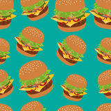Seamless vector pattern with burger image. Cheeseburger green background. Stock Photography