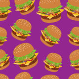 Seamless vector pattern with burger image. Cheeseburger purple background. Stock Photography