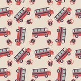 Seamless vector pattern of buses and alarms Stock Image