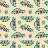 Seamless vector pattern of buses and alarms Royalty Free Stock Photos