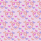 Seamless vector pattern with butterflies and hearts. For design, background, fabrics, scrapbooking Stock Photos
