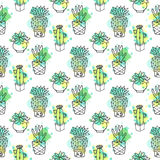 Seamless vector pattern with cactus. Colorful background with watercolor splashes and cacti. Succulent collection. Royalty Free Stock Images