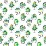 Seamless vector pattern with cactus. Colorful background with watercolor splashes and cacti. Succulent collection. royalty free illustration