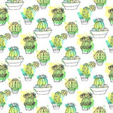 Seamless vector pattern with cactus. Colorful background with watercolor splashes and cacti. Succulent collection. Royalty Free Stock Photos