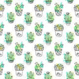Seamless vector pattern with cactus. Colorful background with watercolor splashes and cacti. Succulent collection. Stock Photos