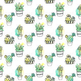 Seamless vector pattern with cactus. Colorful background with watercolor splashes and cacti. Succulent collection. Stock Images
