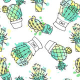 Seamless vector pattern with cactus. Colorful background with watercolor splashes and cacti. Succulent collection. Stock Photography