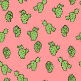 Seamless vector pattern with cactus prickly pea. R for textile, ceramics, fabric, print, cards, wrapping Royalty Free Stock Image