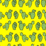 Seamless vector pattern with cactus prickly pear. For textile, ceramics, fabric, print, cards, wrapping Stock Image