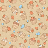 Seamless vector pattern of cake and berries. In vintage style Royalty Free Stock Photography