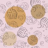 Seamless vector pattern cakes Royalty Free Stock Images