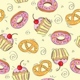 Seamless vector pattern cakes Stock Photo