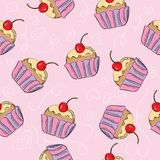 Seamless vector pattern with cakes. Seamless vector pattern with cupcakes - cute background Royalty Free Stock Photography