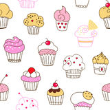 Seamless vector pattern with cakes. On a white background Stock Image