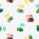 Seamless vector pattern of cameras Royalty Free Stock Images