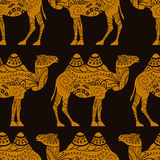Seamless vector pattern with caravan camels Royalty Free Stock Images