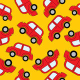 Seamless vector pattern with cars and traffic sign. Template backdrop for a nursery or playroom, bathroom. Pattern for wrapping paper, packaging, boxes, bags stock illustration