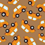 Seamless vector pattern with cars and traffic sign Royalty Free Stock Image