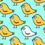 Seamless vector pattern with cartoon birds Royalty Free Stock Image