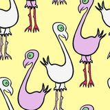 Seamless vector pattern with cartoon birds Royalty Free Stock Photos