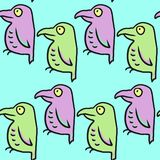 Seamless vector pattern with cartoon birds Stock Photo