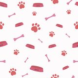 Seamless vector pattern with cartoon bones, bowls and dog or cat paws. Cute modern pattern with pink elements on the light pink background. Nice pet background royalty free illustration