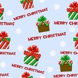 Seamless vector pattern with cartoon christmas green-red gifts on blue tile background. Stock Photo