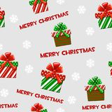 Seamless vector pattern with cartoon christmas green-red gifts on grey tile background. Stock Image