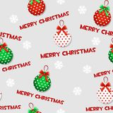 Seamless vector pattern with cartoon christmas green-red toys on grey tile background. Stock Photography