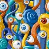 Seamless vector pattern of cartoon eyes of monsters, in blue and yellow tones. Seamless vector pattern of cartoon eyes and tentacles of monsters, in blue and stock illustration