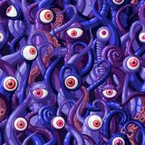 Seamless vector pattern of cartoon eyes and tentacles of monsters with blue and purple skin and pink eyes. Vector illustration stock illustration