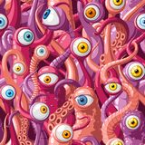 Seamless vector pattern of cartoon eyes and tentacles of monsters with pink skin, blue and yellow eyes. Vector illustration stock illustration