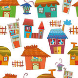 Seamless vector pattern of cartoon houses. Stock Photo