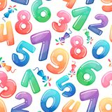 Seamless pattern with cartoon numbers and fireworks. Rainbow candy and glossy funny cartoon symbols. Different. Seamless vector pattern with cartoon numbers and Stock Images