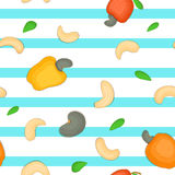 Seamless vector pattern of cashew nut. Blue Striped background with delicious  nuts, leaves. Illustration can be used Royalty Free Stock Image