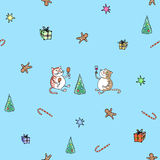 The seamless. Vector pattern Cats Christmas Stock Photos