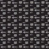 Seamless vector pattern cats and fishbones Stock Photos