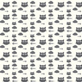Seamless vector pattern cats and fishbones Royalty Free Stock Image