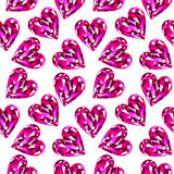 Seamless vector pattern, chaotic background with bright pink gemstones in the shape of hearts Stock Photos