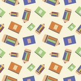 Seamless vector pattern, chaotic background with colorful  pencils and notepads Royalty Free Stock Photo
