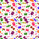 Seamless vector pattern. Chaotic bright background with colorful sweets and gifts on the white backdrop Royalty Free Stock Images