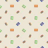 Seamless vector pattern, chaotic light background with pencils and notepads Royalty Free Stock Image