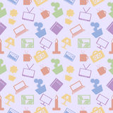 Seamless vector pattern. Chaotic pastel background with colorful elements of home decor on the blue backdrop Stock Photography